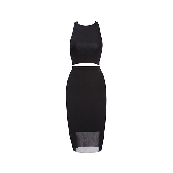 Fame&Partners Two Piece Cocktail Black Elena Two Piece Dress (€140) ❤ liked on Polyvore featuring dresses, black, cocktailtwo piece, evening party dresses, two piece cocktail dresses, 2 piece dress, party dresses and halter neck cocktail dress