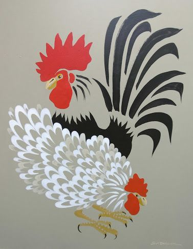 """Isn't she lovely!"" (Rooster/Hen on gray) love the simplicity"
