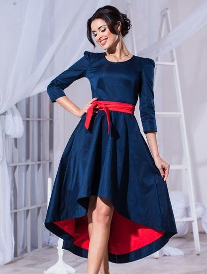 Комбинированное асимметричное платье с пояском, фото 1