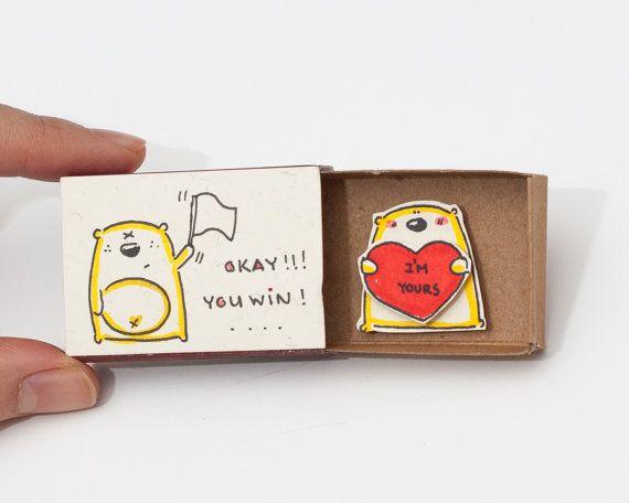 """Tarjeta divertida del día de San Valentín / día de San Valentín tarjeta de propuesta / tarjeta única contratación tarjeta /Love confesión / """"Bueno usted gana"""" - """"I"""