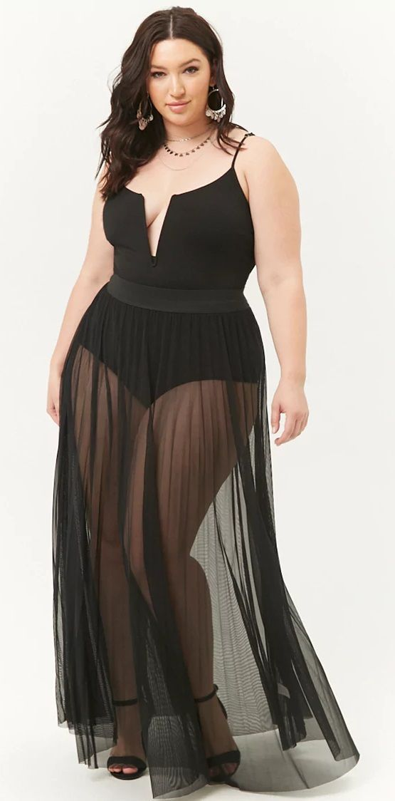 ca468a7f5571c Perfect for a swim cover-up! Plus Size Sheer Maxi Skirt  plussize ...
