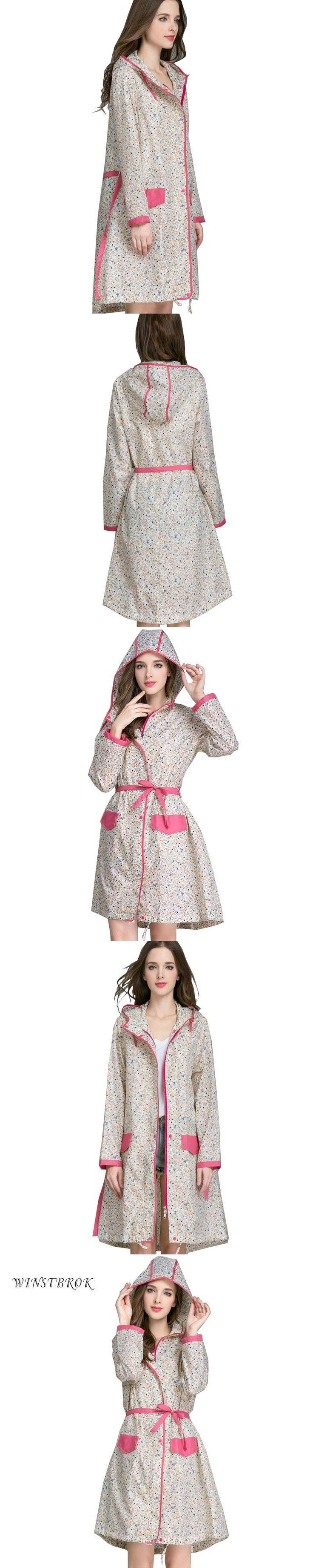 WINSTBROK Floral Long Raincoat Women Ladies Rain Coat Women's Rainwear Breathable Outdoor Travel Water-Repellent  Riding Clothes