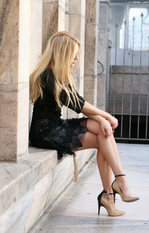 { black w nude heels }