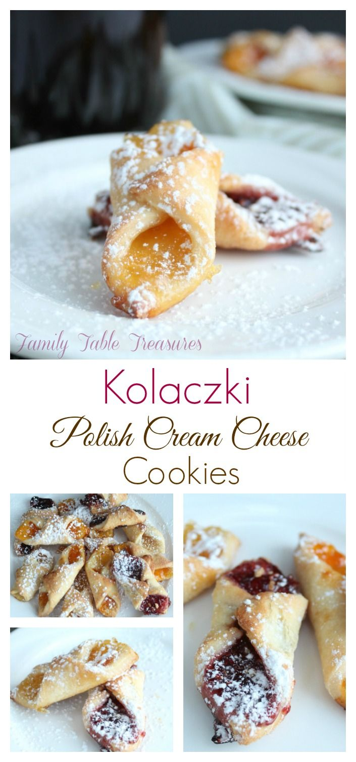 Kolaczki are Polish Cream Cheese Cookies. They are a flaky pie crust like cookie filled with assorted jams cheese or poppy seed mixture.