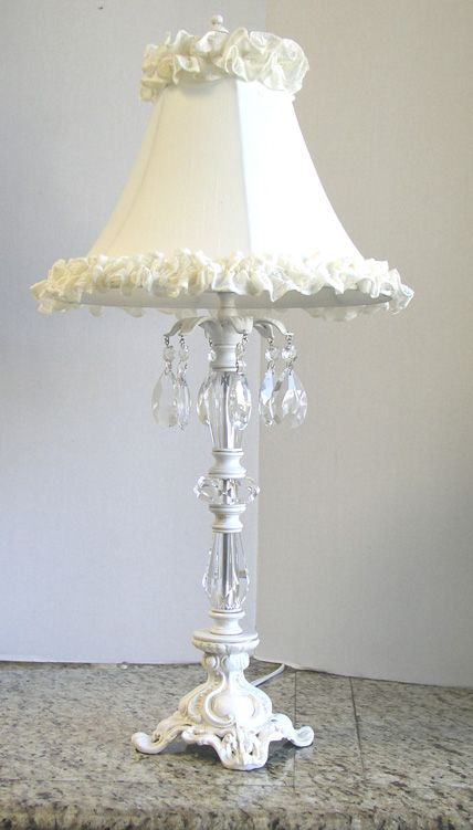 Shabby Chic Style Amelia Lamp features dangling clear crystals