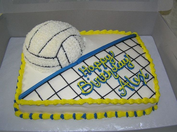 Volleyball Cake 9X13 chocolate cake with BC icing. Volleyball done with 1/2 the sports ball pan.