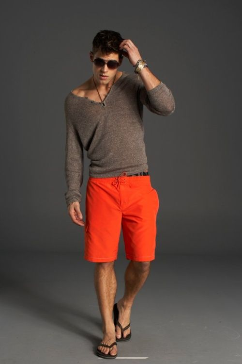 ♥ the colors and this look http://media-cache8.pinterest.com/upload/45669383691369052_H7eDFldd_f.jpg thenidge not menswear but men s fashion: Men Clothing, Men Casual Fashion Shorts, Casual Summer, Summer Looks, Orange Shorts, Summer Outfits, Men Fashion, Red Shorts, Beaches Style