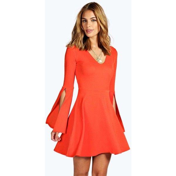 Boohoo Jenny Split Sleeve Skater Dress ($14) ❤ liked on Polyvore featuring dresses, orange, floral skater dress, bohemian maxi dress, sleeve maxi dress, boho maxi dress and red polka dot dress