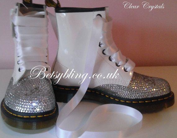 Wedding Dr Martens, Custom crystal Dr Martens, Bridal Shoes, Bridal Dr Martens Free UK Delivery