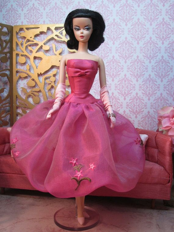 Silkstone BArbie in Framboise Bubble Gown by Bellissimacouture on Etsy