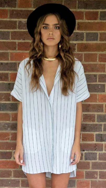 Selena Tee Dress - White/Black