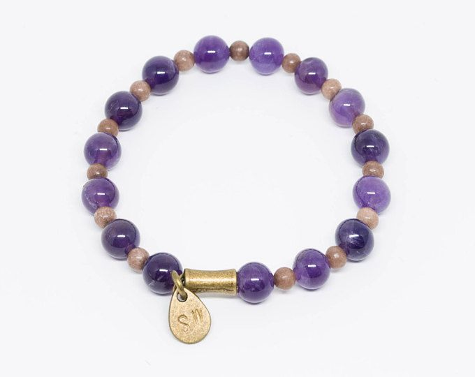 Amethyst with Hand-Stamped Pendant - Handmade bracelets supporting wildlife conservation