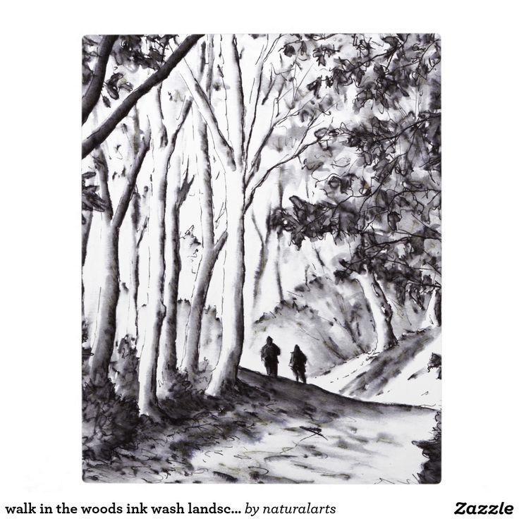 walk in the woods ink wash landscape drawing plaque