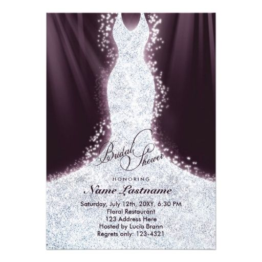 865 best images about glitter bridal shower invitations on for Wedding dress bridal shower invitations