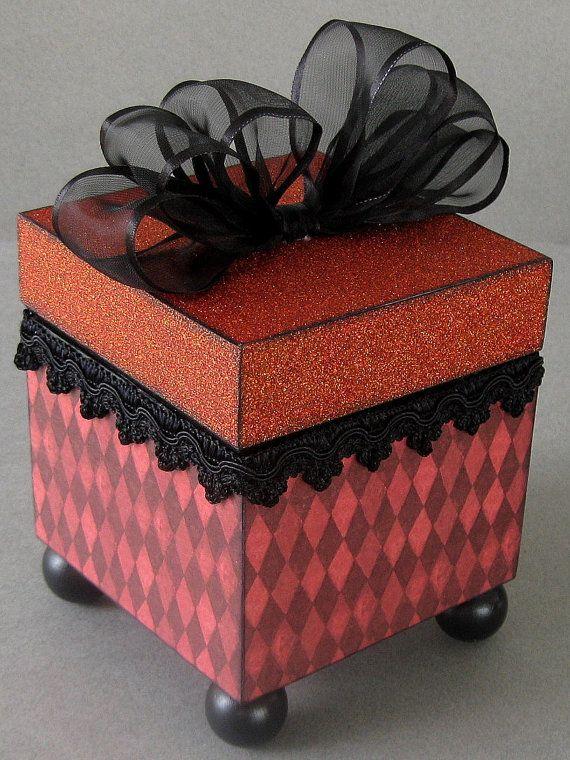 Red Harlequin Decorative Keepsake Trinket Box by funkyart08