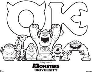 Monster University Colouring Sheet