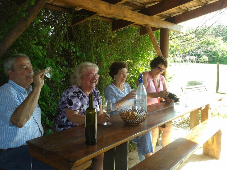 Having a great time on wine tour in Etyek village.