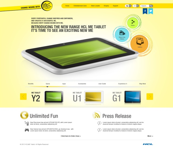 HCL Website for Tablet by Md Amir, via Behance