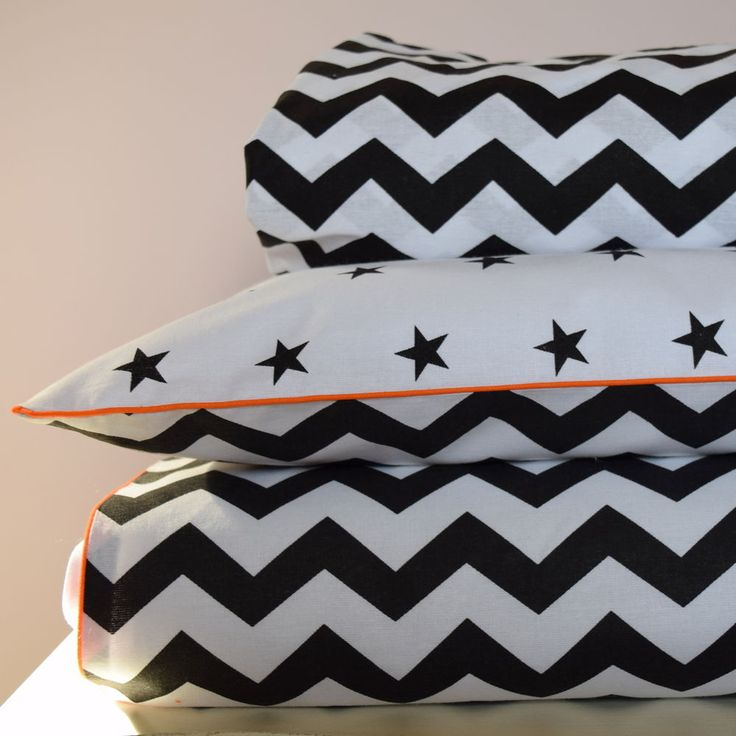 100% COTTON Cot Bed Duvet Cover Set & Fitted Sheet  Stars Chevron orange piping