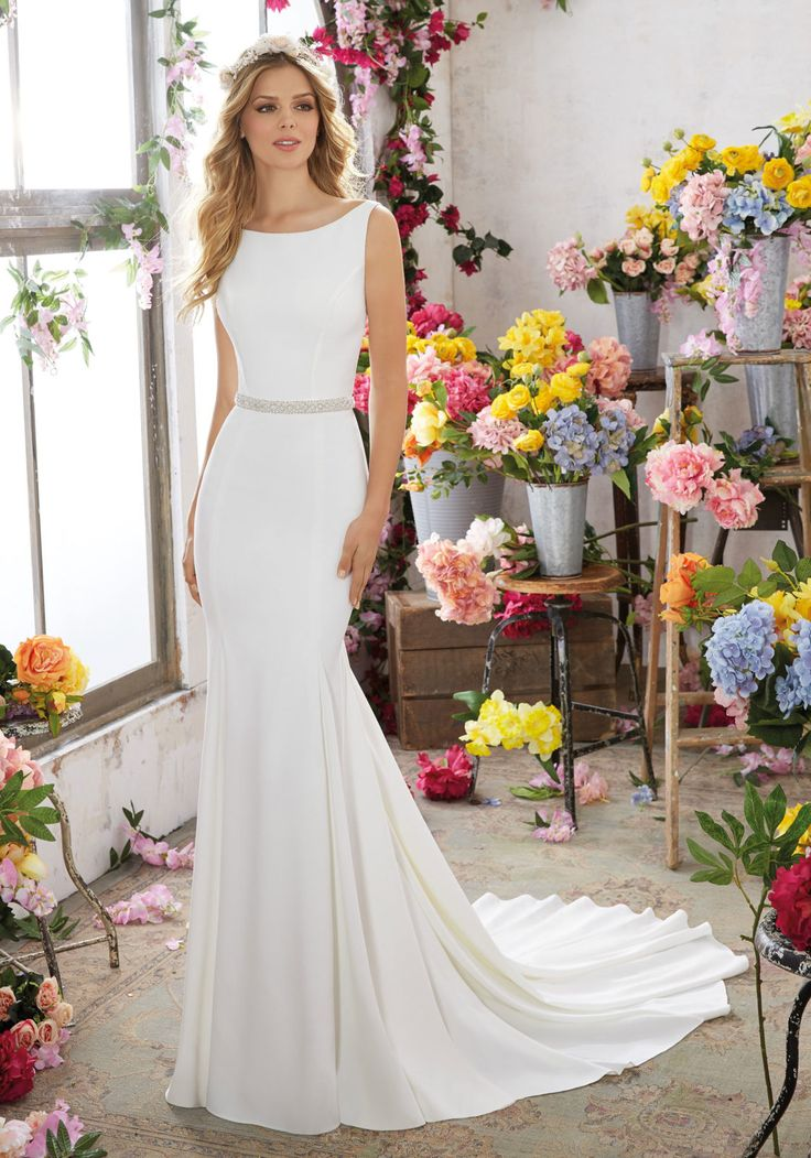 Morilee by Madeline Gardner 'Melissa' 6857 | Modern and Sophisticated, This Crepe Sheath Wedding Dress Features Gorgeous Crystal Beaded Back Straps and a Removable Crystal Beaded Net Belt (Crystal Beaded Net Belt Included, but Also Sold Separately as Style #11258). Colors Available: White/Silver, Ivory/Silver. Shown in Ivory/Silver.