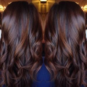 Long Curled Chocolate Brown Hair with Cinnamon Highlights by tanya