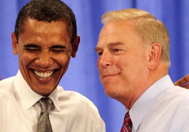 obama and ted strickland laughing