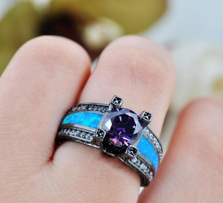 New and different, blue opal amethyst goth ring! Order yours now!