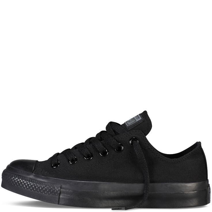 - Canvas upper for long-lasting wear. - lo-top design. - All-over black color. - Classic lace-up front for secure fit. - Lightly padded footbed for support. - Converse rubber toe cap and thick outsole