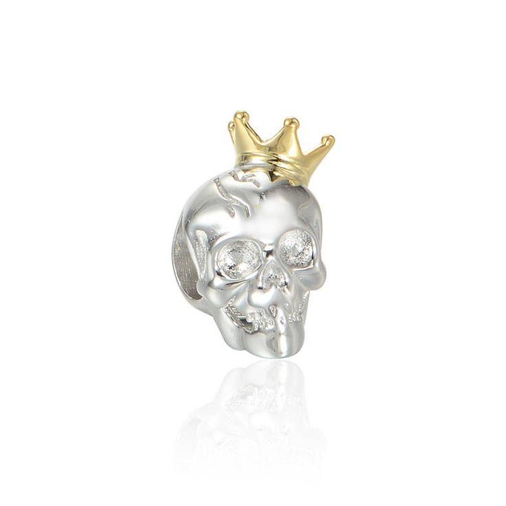 Teschio Di un Re con corona placcata d'oro Argento sterling 925 adatta misure Pandora bead Braccialetto europeo Braccialetto Pandora E025 di OceanBijoux su Etsy