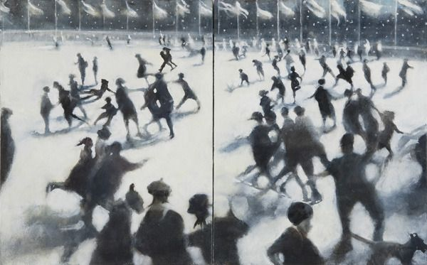 Double Skaters, NYC I, 2011. An oil on canvas, diptych by Bill Jacklin. 30 x 48 inches.