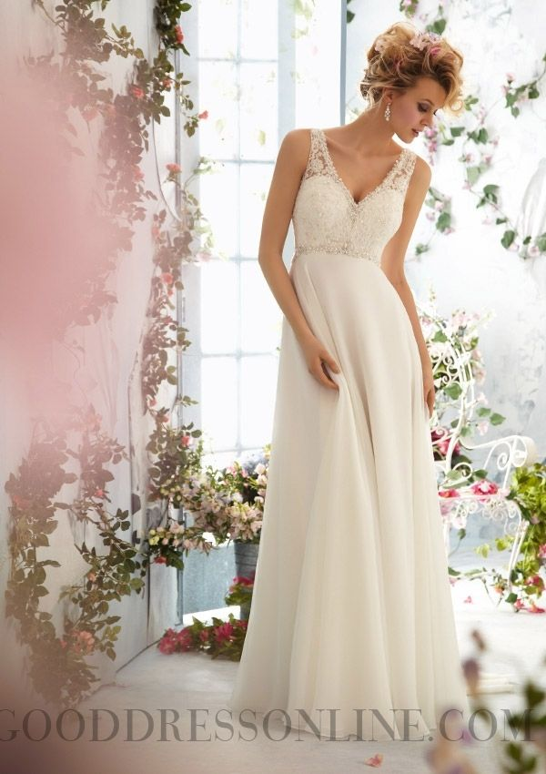 2014 Cheap Beading A-line V-neck Floor-length Chiffon Wedding Dresses