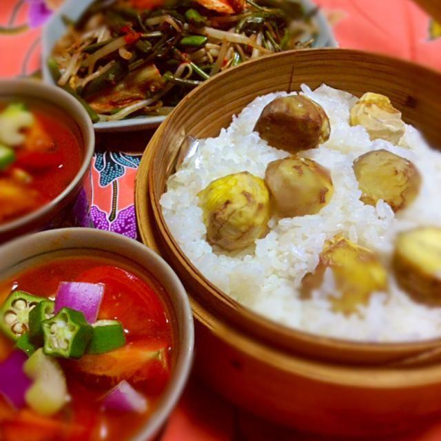 年に一度は栗ご飯。せいろで蒸すと、ほっこり美味しい。トマトピュレに生野菜をトッピングしたトマトスープとともに。 - 13件のもぐもぐ - 栗おこわ、野菜スープ、空芯菜モヤシ炒め by kennyasiajj