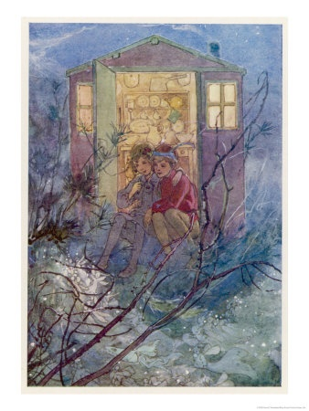Peter Pan and Wendy sit on the doorstep of the Wendy House.  Alice B. WoodwardGiclee Prints, Wendy Sitting, Peter O'Tool, Art Com, Wendy House, House Giclee, Gicl Prints, Nurseries Prints, Peter Pan