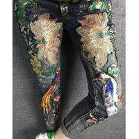 Super Girl Imágenes Reales Mujeres Delgadas Del Bordado Jeans Aves Rebordear Recubrimiento Flor Europea Flaco Denim Vaqueros Femeninos
