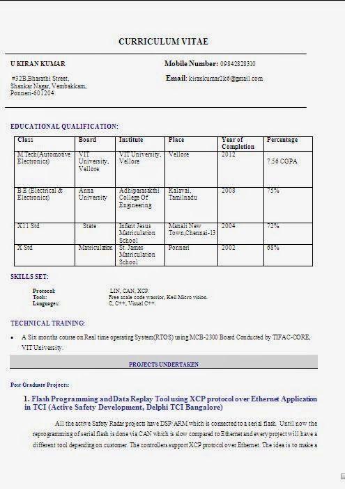 M Tech Fresher Resume Format Resume Templates Resume Format