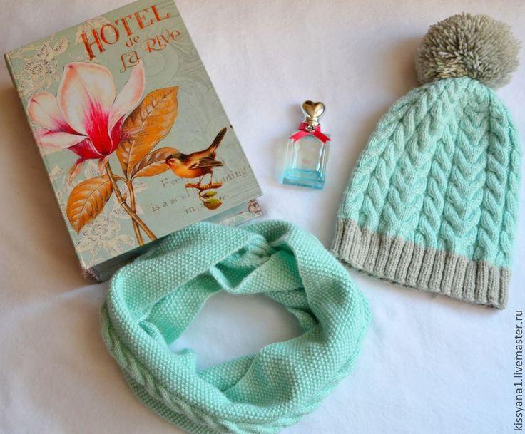 """Купить Шапка и снуд """"Морозная мята"""" - бирюзовый, шапка, шапка вязаная, шапочка для девочки"""
