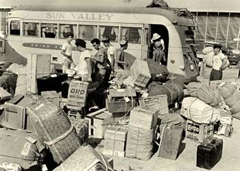 JAPANESE RELOCATION CAMPS | ... the west coast being offloaded at Minidoka internment camp in Idaho