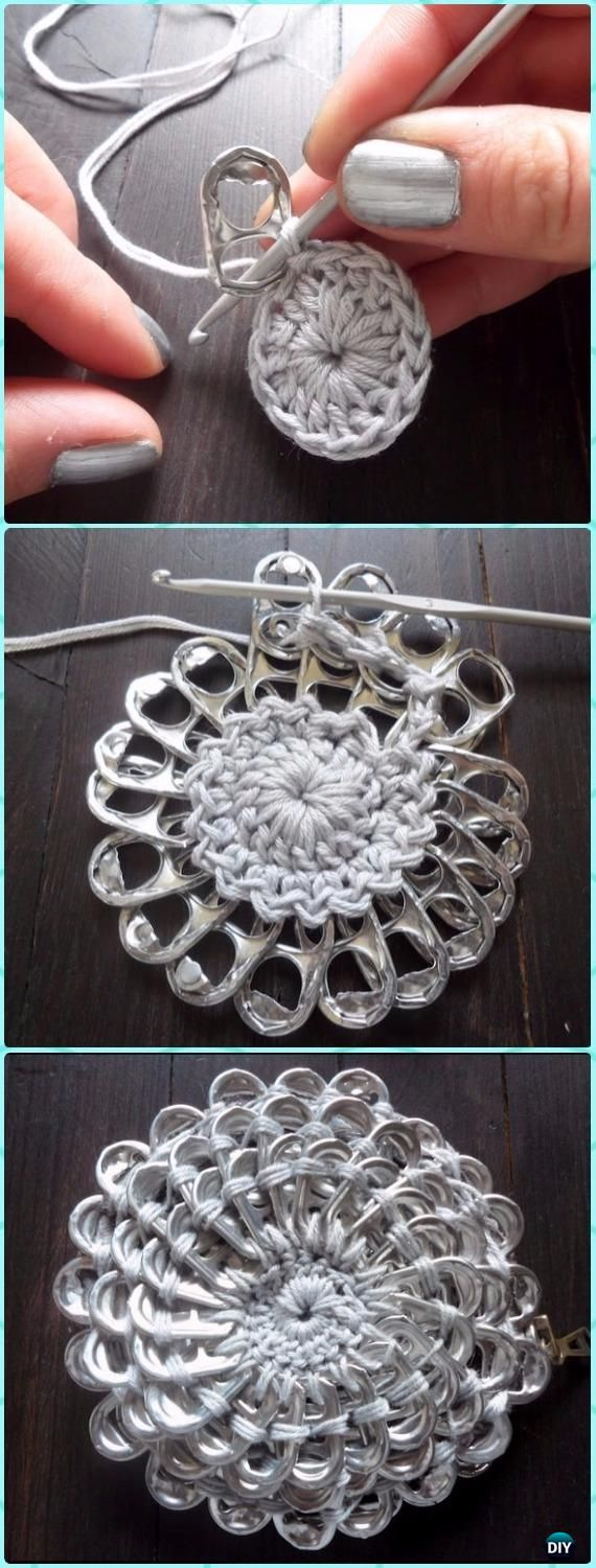 Crochet Tin Can Pull Tab Flower Free Pattern - Crochet 3D Flower Motif Free Patterns