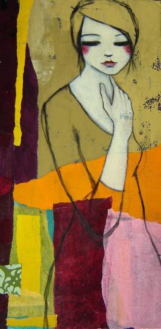 J'aime l'idée des couleurs qui traversent la silhouette.                                           Painting,  40 x 80 cm ©2010 by carine b -  Painting