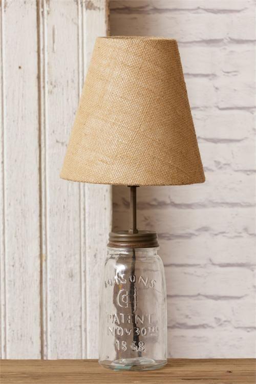 Details About New Primitive Antique Vintage Style Clear Mason Jar Lamp Electric Table Light With Images Jar Lamp Mason Jar Lamp