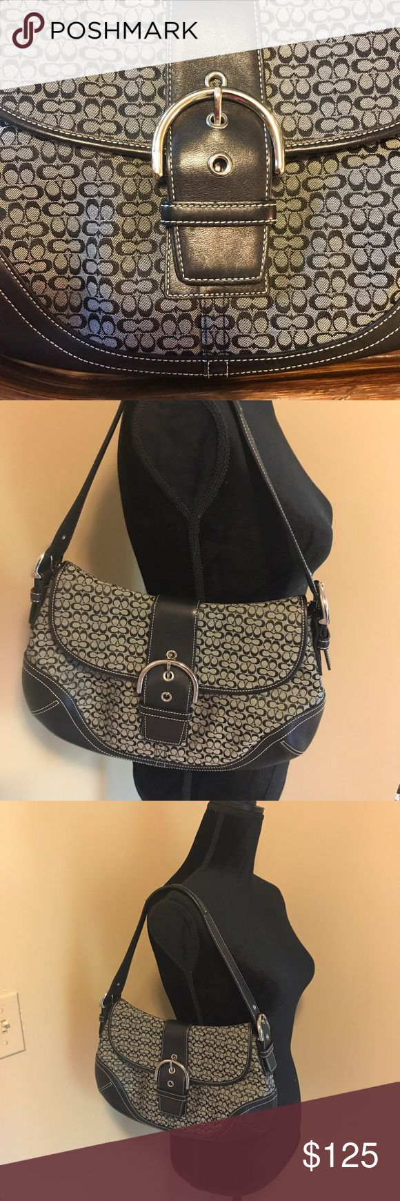 NWT Authentic Signature Coach Hobo Bag Purse Authentic Signature Coach Buckle Flap Hobo Small Bag Purse. Buckle Flap with magnetic closure. Back compartment, a zipper compartment and two pockets on the inside. Purchased New in 2005 but Never Used!  Still has original tag tucked inside. All items come from a smoke free home. Coach Bags