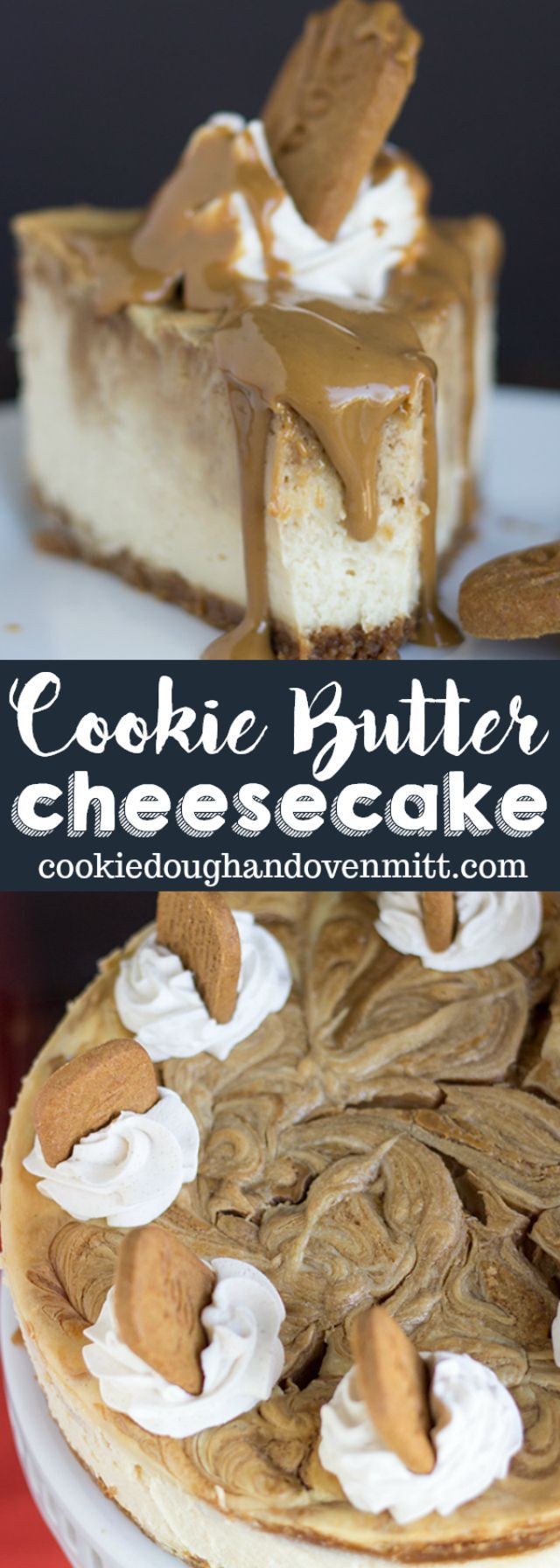 Cookie Butter Cheesecake - thick and creamy cookie butter cheesecake with gorgeous swirls of cookie butter on top and a speculoos cookie crust. This cheesecake is highly addicting! via @mmmirnanda