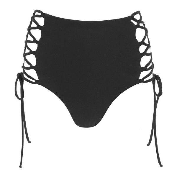 Mara Hoffman Women's Reversible Lace Up High Waisted Bikini Bottoms -... (€140) ❤ liked on Polyvore featuring swimwear, bikinis, bikini bottoms, swim, black, high waisted bikini, high-waisted swimwear, reversible bikini, swimming bikini and bikini swim wear