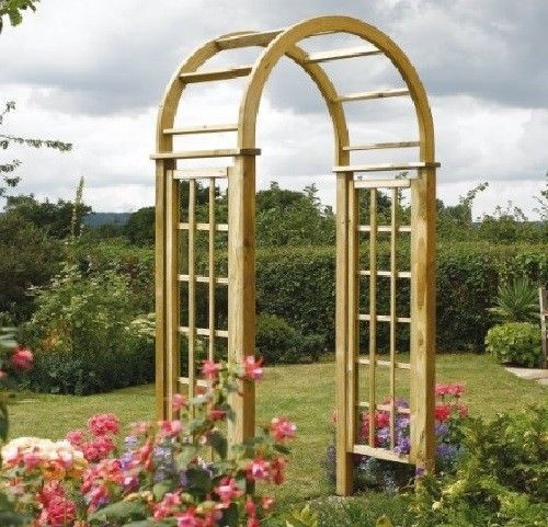 Circle Arbor: Details About Garden Arch Wooden Round Top Roses Climbers