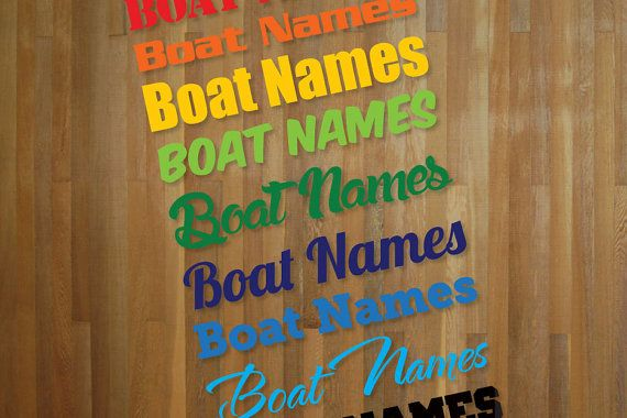Pair of brand new, custom designed boat name adhesive vinyl stickers / decals, created by Doozi.