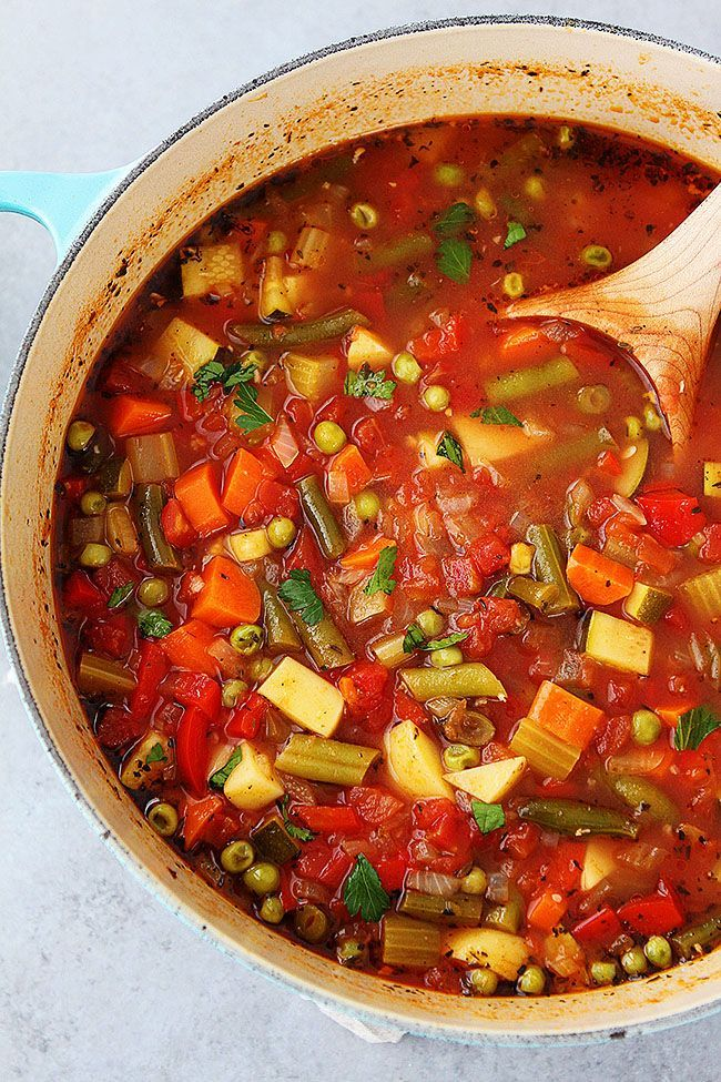 Easy Vegetable Soup Recipe is a family favorite and so good for you! Enjoy a bowl for lunch or dinner! This soup reheats well and freezes well! #soup #vegetablesoup #healthyrecipe #easyrecipe #glutenfree #vegan #vegetarian