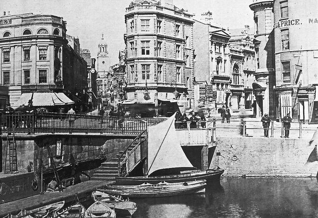 Bristol City Centre 1880  This is an archive image of Bristol City Centre in 1880 showing the Harbour and the Old Drawbridge, Baldwin Street (Right) and Corn Street (Left)