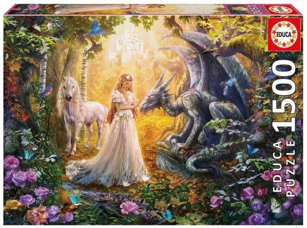 Dragón princesa y unicornio -  EDUCA  Puzzle de estilo fantasía con una hada rubia con traje blanco acariciando a un dragón, con unicornio, en el bosque con mariposas, rosas y pájaros.  Medidas 85x60 cmts  1500 Piezas Disponible ya en Puzzlemania.net