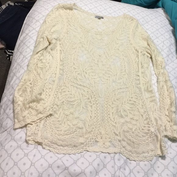 HP Express cream lace top Express Cream Lace Top 3/4 sleeves Express Tops Blouses