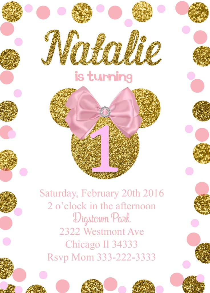 Minnie Mouse Glitter Birthday invitation Pink Bow